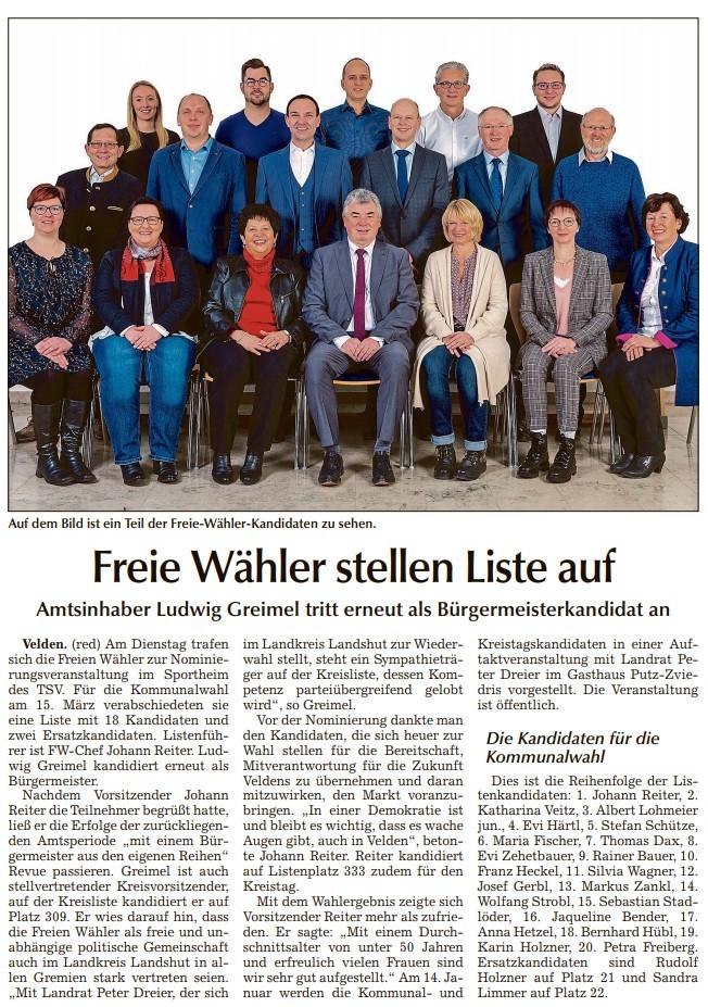 Zeitungsbericht der Freien Wähler Velden in der Vilsbiburger Zeitung vom 11.01.2020 zur Nominierungsveranstaltung am 07.01.2020 im TSV Sportheim